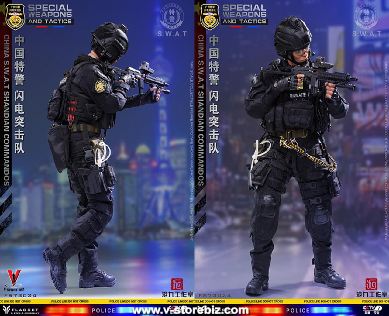 China Special Police Lightning Commando SWAT Blitz Brigade 1//6 FLAGSET 73024 USA