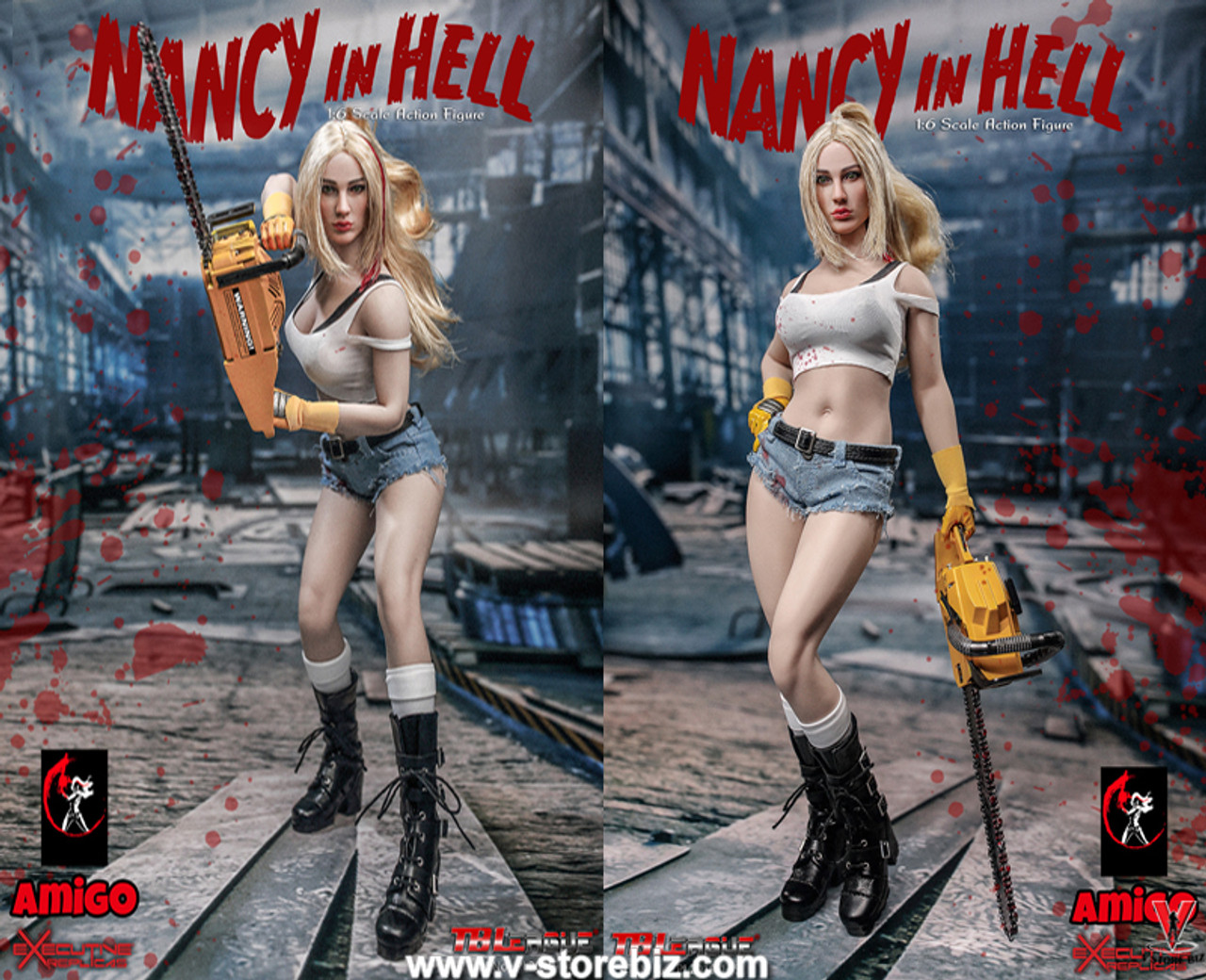 - 1//6 Scale Nancy in Hell Bloody White Stockings TBLeague Action Figures