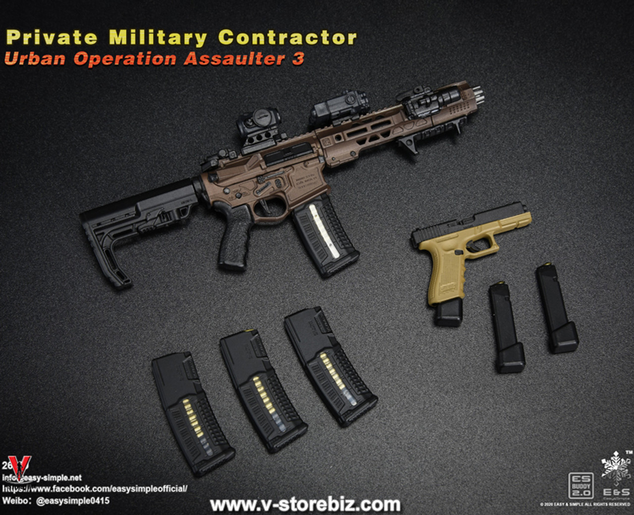 EASY/&SIMPLE ES26039 1//6 Private Military Contractor Urban Assaulter Pistol Model