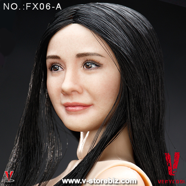 Very Cool Asian Actress Headsculpt with Black Straight Hair 3.0 1//6 Body FX06A