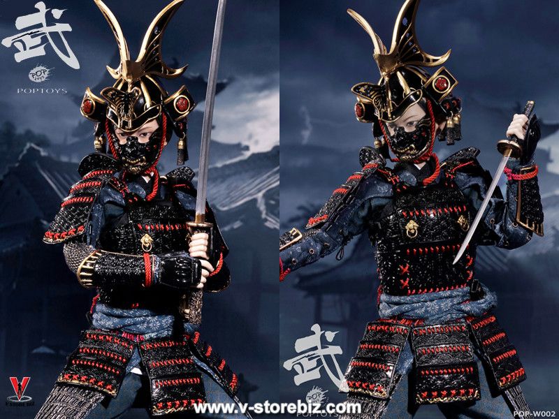 POPToys W002B Butterfly Helmet Female Samurai Warrior Black Armor (Luxury Ver.)