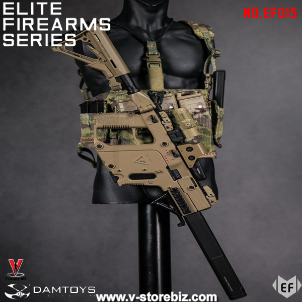 DAM Elite Firearms Series 3 EF015 Flat Dark Earth Vector SMG w/ Multicam Chest Rig