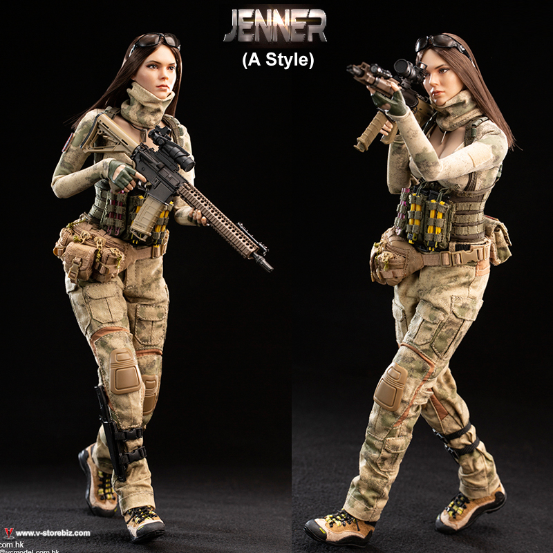 """VERYCOOL VCF-2037A 1//6 Scale Female Soldier Jenner 12/"""" Action Figure Head Sculpt"""