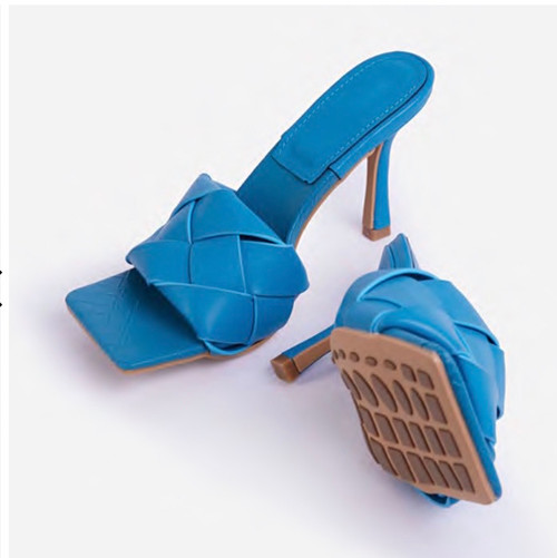 Blue Woven Mules