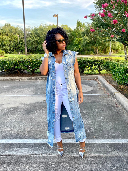 Trendsetter Long Denim Vest (RESTOCKED)