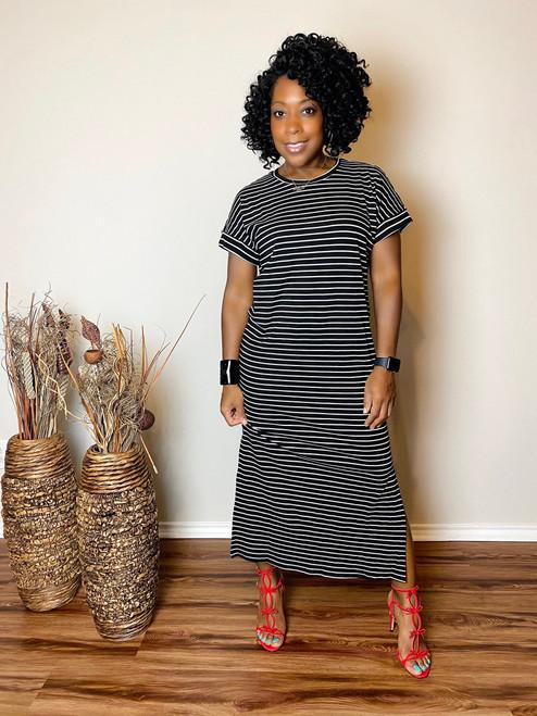 Tessa Black Striped Midi Dress  (RESTOCKED)