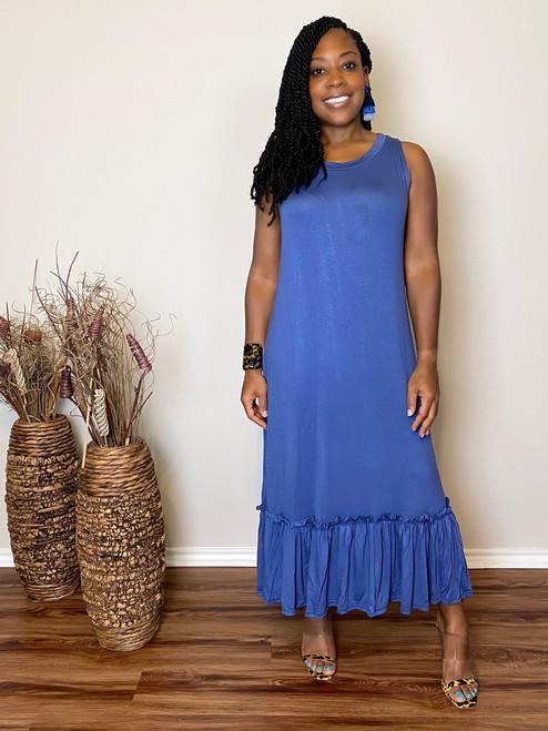 Olivia Midi Dress-Blue