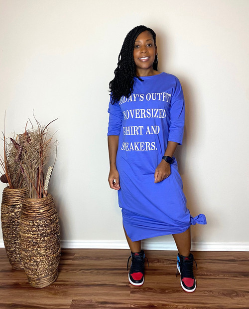 Oversize T-Shirt Dress-Blue