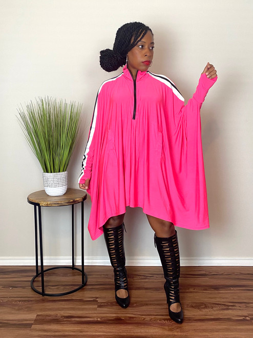 Demi Cape Dress- Pink