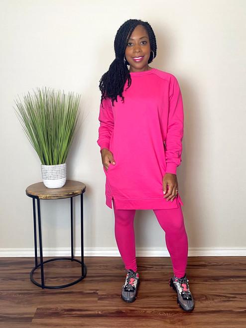 Oversize Sweatshirt Legging Set-Pink