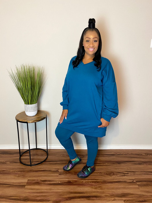 Oversize Sweatshirt Set-Teal