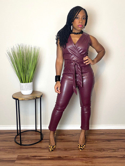 Noelle Faux Leather Jumpsuit