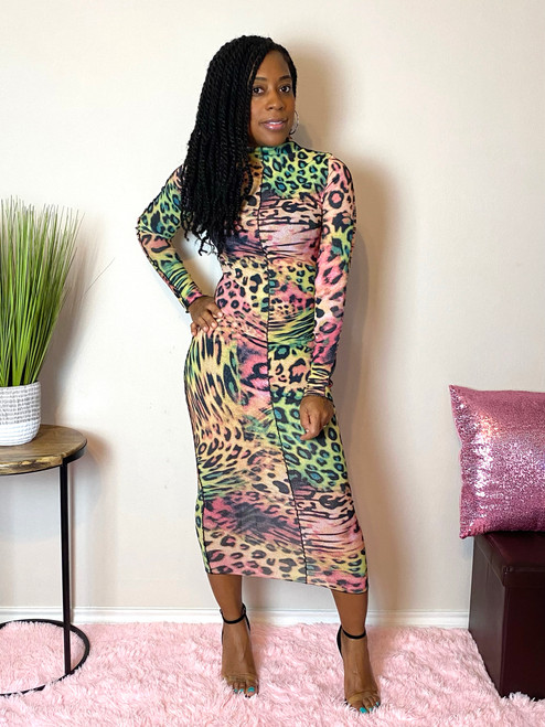 Sheer mixed print leopard dress