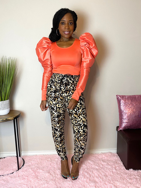 See me Puff Top-Coral