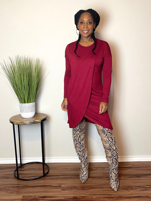 Chill Draped Dress-Burgundy
