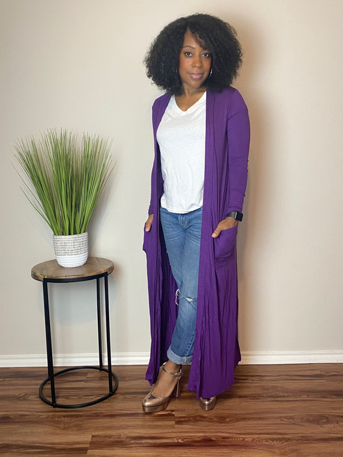 Maxi Cardigan-Purple
