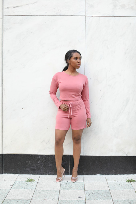 Chill Mode Short Set-Pink