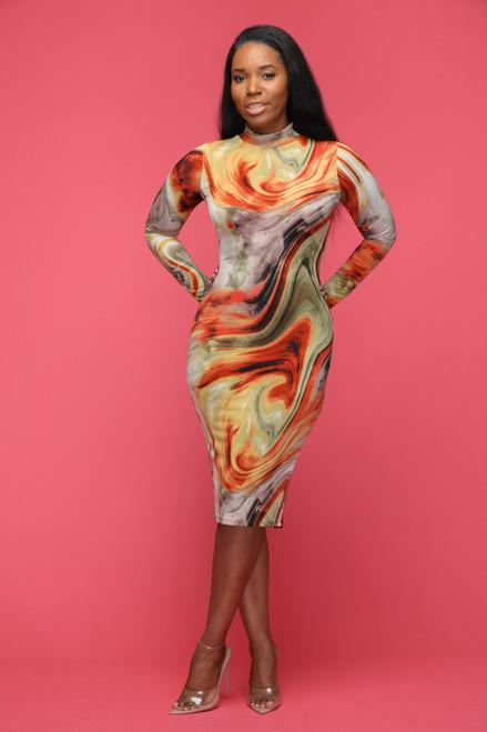Oh My Swirl Dress-Yellow