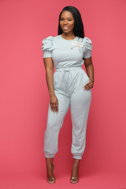 Perfect Puff Jumpsuit-Sage