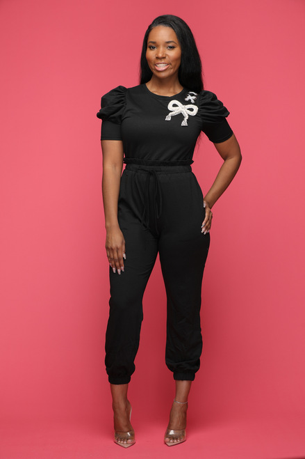 Perfect Pearl Jumpsuit-Black