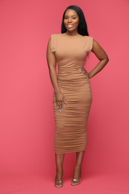 Tan Lines Ruched Midi Dress