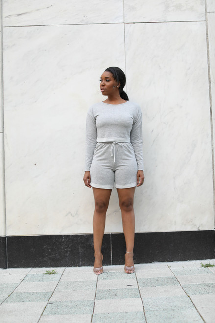 Chill Mode Short Set-Grey