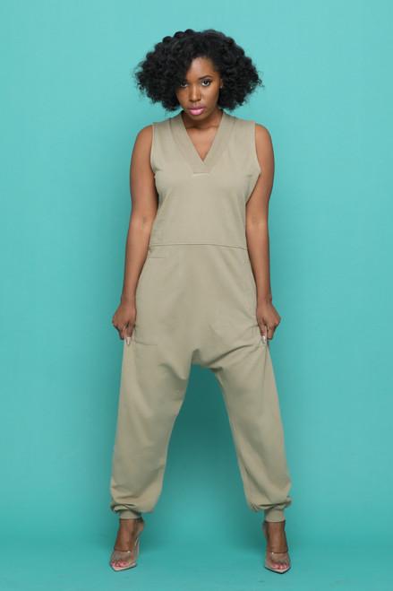 Chill Sleeveless Jumpsuit-Khaki