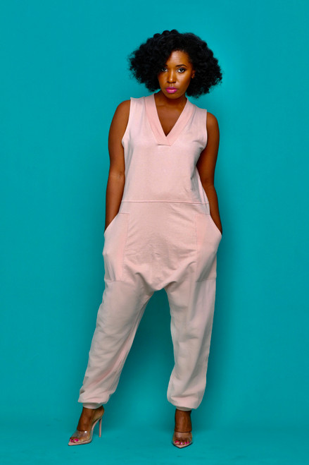 Chill Sleeveless Jumpsuit-Light Pink