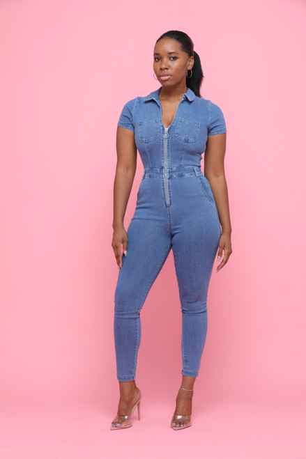 Zip Denim Jumpsuit