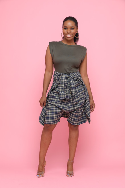 Estelle Green Plaid Shorts