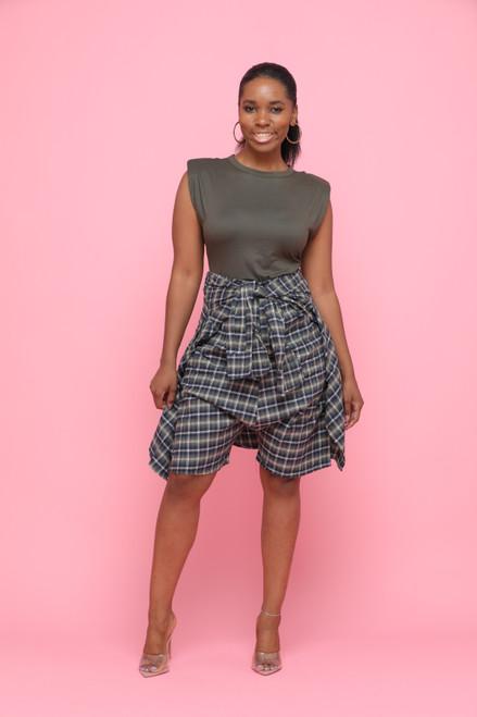 Estelle Green Plaid Shorts