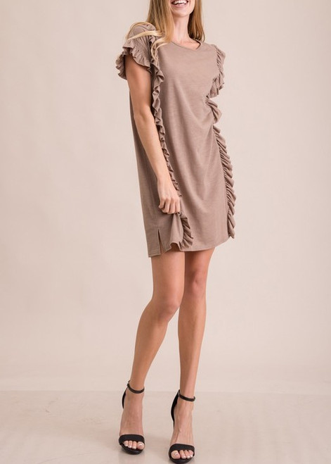 Ruffles Me T-Shirt Dress-Mocha