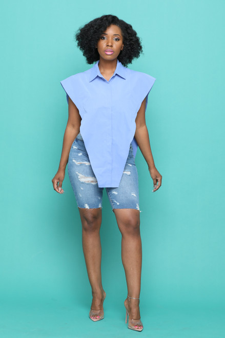 Dalia Side Out Top-Blue