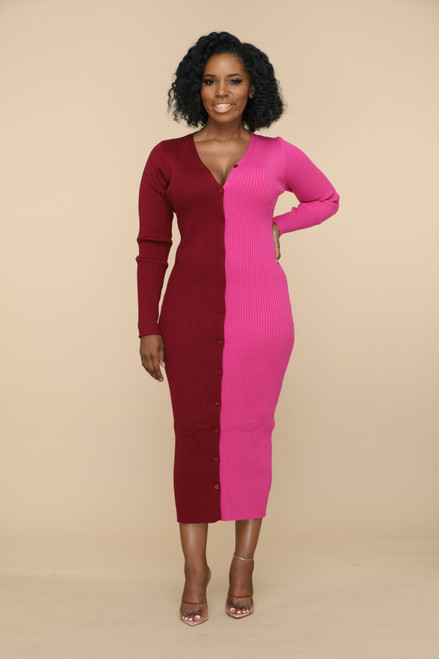 Double Trouble Sweater Dress-Pink