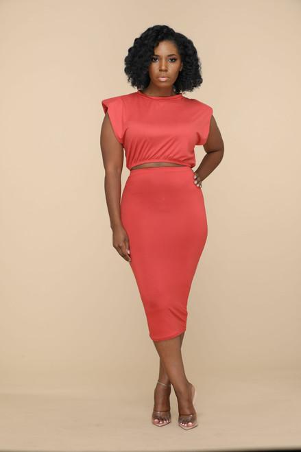 Twila Skirt Set-Rust