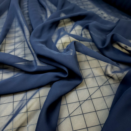 NAVY BLUE SHEER SILK CHIFFON