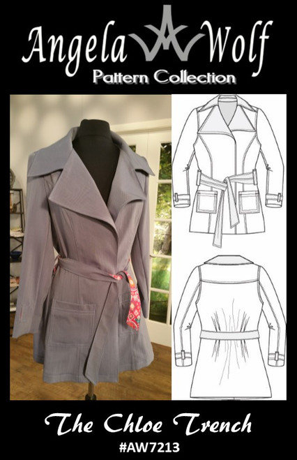 The Chloe Trench Jacket Sewing Pattern Available in sizes:  0 - 36W