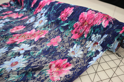 BLUE PINK GREEN FLORAL LACE FABRIC