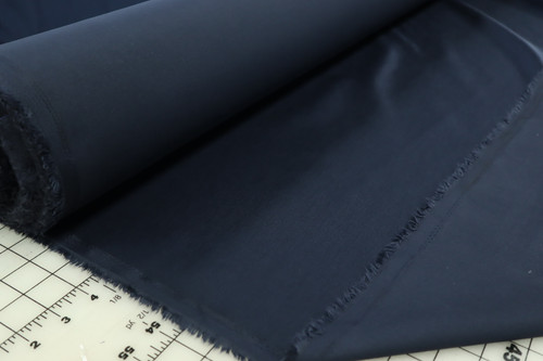 NAVY STRETCH SATEEN TWILL COTTON POLY SPANDEX FABRIC