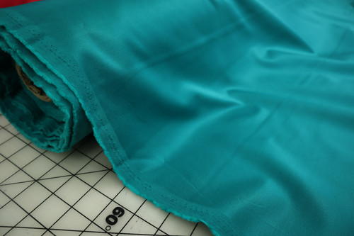 TEAL STRETCH SATEEN TWILL COTTON POLY SPANDEX FABRIC