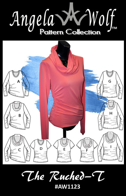 Ruched-T pattern with many variations: 3 sleeve lengths, 3 collars, and more!