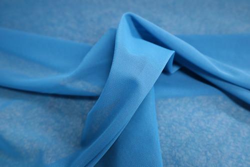 ABYSS BLUE POWER MESH NYLON SPANDEX TRICOT KNIT FABRIC -  ATHLEISURE WEAR