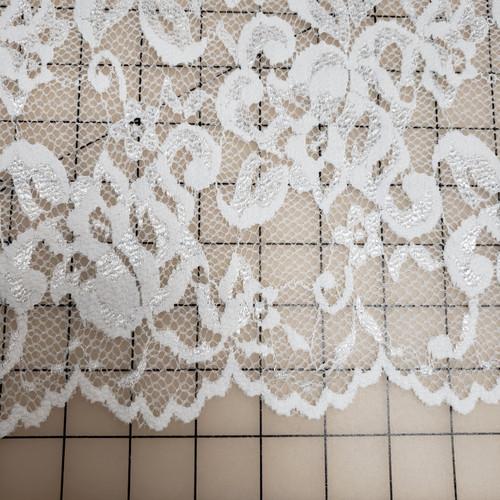 WHITE SCALLOPED LACE STRETCH FABRIC