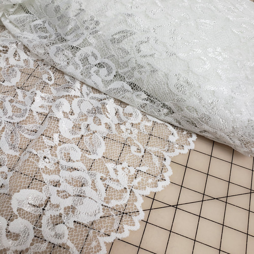 WHITE SCALLOPED LACE STRETCH FABRIC