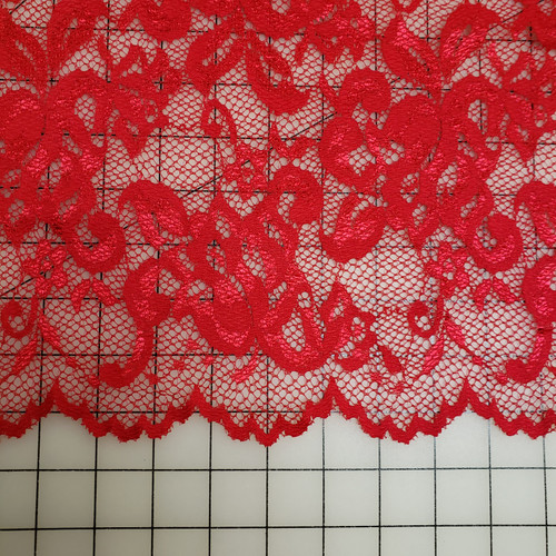 RED SCALLOPED LACE STRETCH FABRIC
