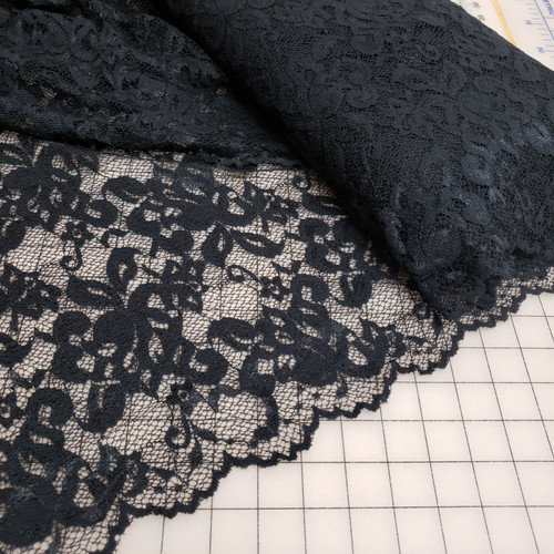 BLACK SCALLOPED LACE STRETCH FABRIC
