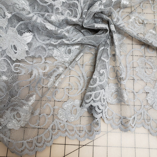 SILVER GRAY SCALLOPED LACE STRETCH FABRIC
