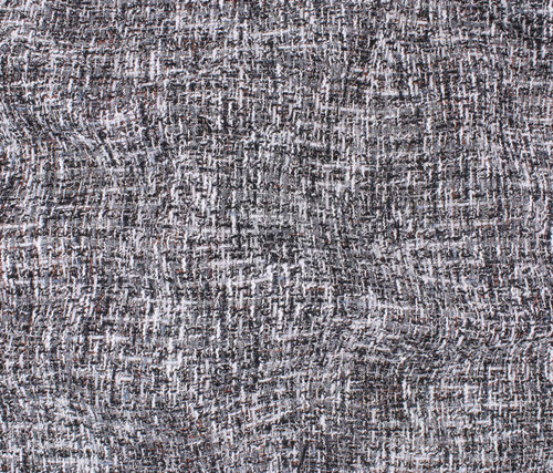 BLACK GREY WHITE POLYESTER TWEED - SOLD BY THE 1/2 YARD
