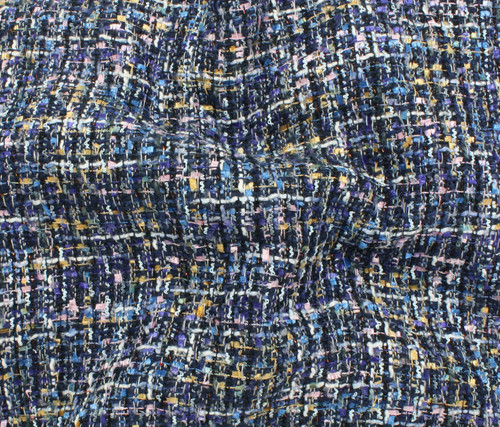 NAVY BLUE MULTI COLORED 100% POLYESTER TWEED - SOLD BY THE 1/2 YARD