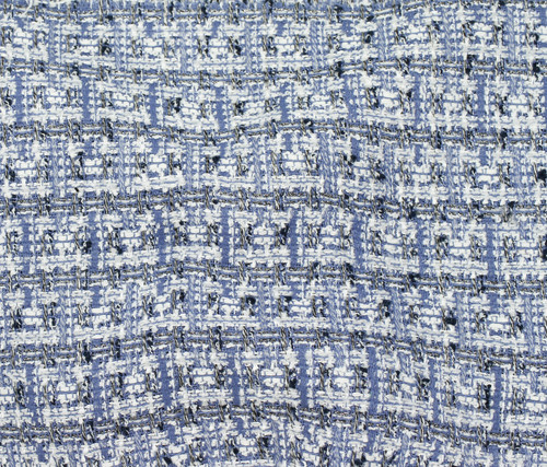 BLUE WHITE MULTI COLORED 100% POLYESTER TWEED - SOLD BY THE 1/2 YARD